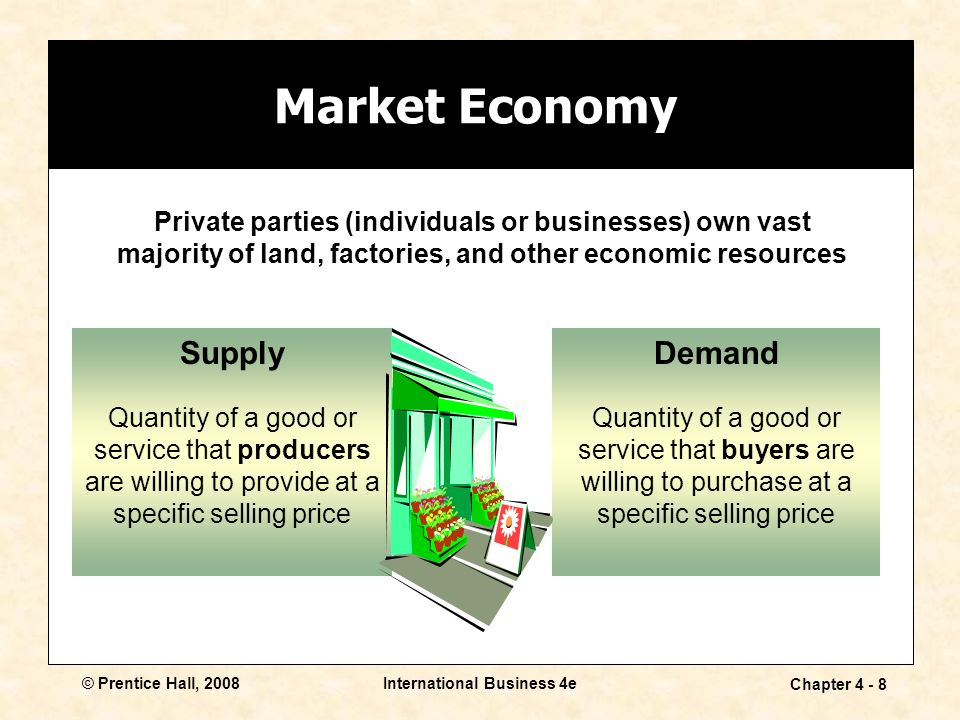 © Prentice Hall, 2008International Business 4e Chapter Private parties (individuals or businesses) own vast majority of land, factories, and other economic resources Demand Quantity of a good or service that buyers are willing to purchase at a specific selling price Market Economy Supply Quantity of a good or service that producers are willing to provide at a specific selling price
