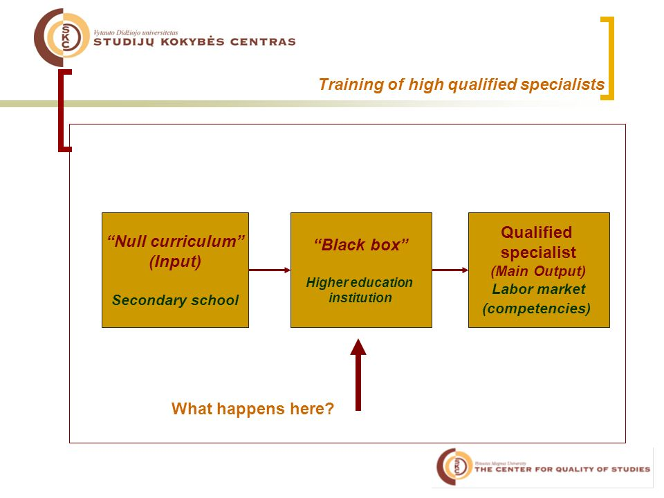 Training of high qualified specialists Null curriculum (Input) Secondary school Black box Higher education institution Qualified specialist (Main Output) Labor market (competencies) What happens here