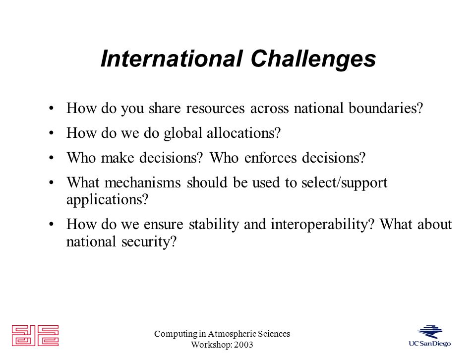 Computing in Atmospheric Sciences Workshop: 2003 International Challenges How do you share resources across national boundaries.