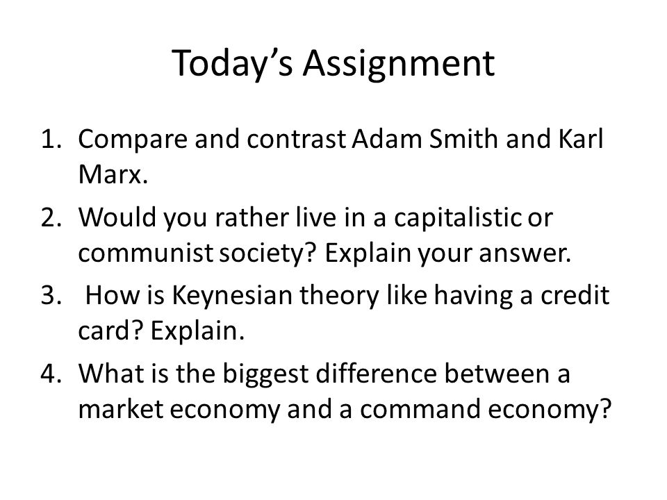 compare and contrast adam smith and karl marx