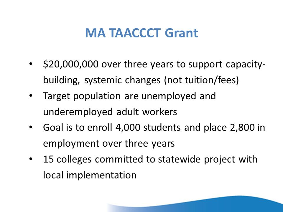 MA TAACCCT Grant $20,000,000 over three years to support capacity- building, systemic changes (not tuition/fees) Target population are unemployed and underemployed adult workers Goal is to enroll 4,000 students and place 2,800 in employment over three years 15 colleges committed to statewide project with local implementation