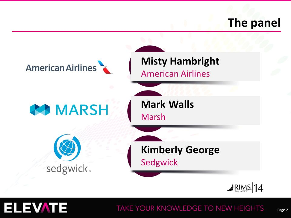 Page 2 The panel Kimberly George Sedgwick Mark Walls Marsh Misty Hambright American Airlines