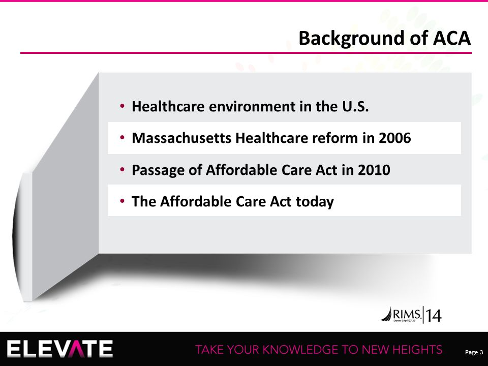 Page 3 Background of ACA Healthcare environment in the U.S.