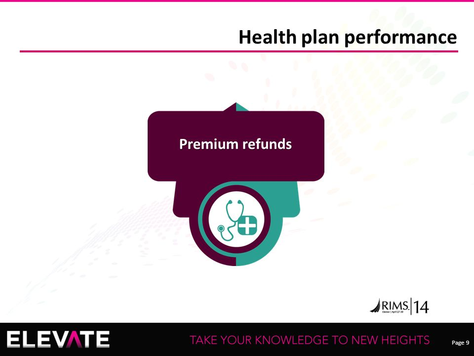 Page 9 Health plan performance Premium refunds