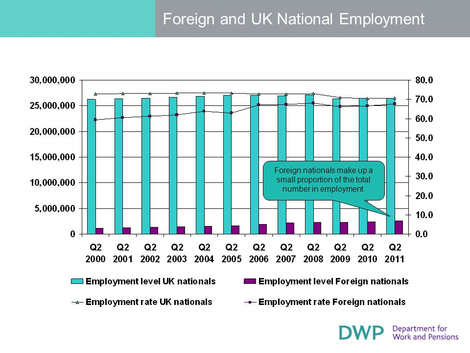 Foreign and UK National Employment Foreign nationals make up a small proportion of the total number in employment.
