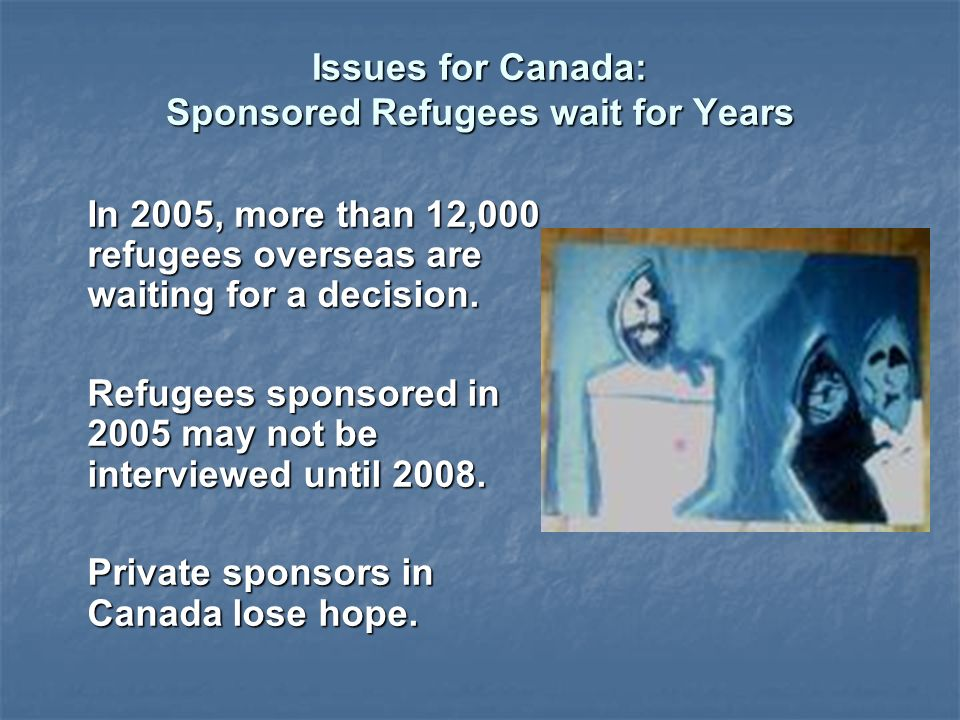 Issues for Canada: Sponsored Refugees wait for Years In 2005, more than 12,000 refugees overseas are waiting for a decision.