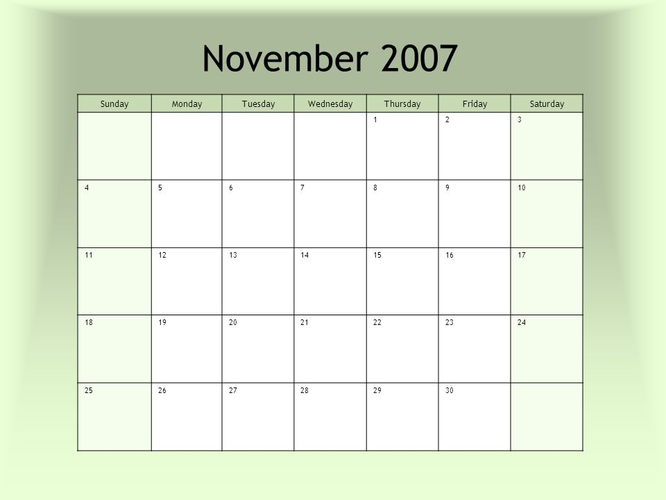 2007 Monthly Calendar You Can Print This Template To Use It As A