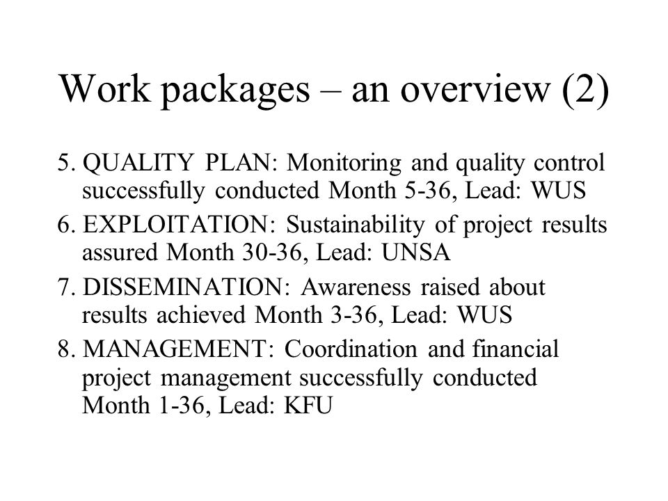 Work packages – an overview (2) 5.