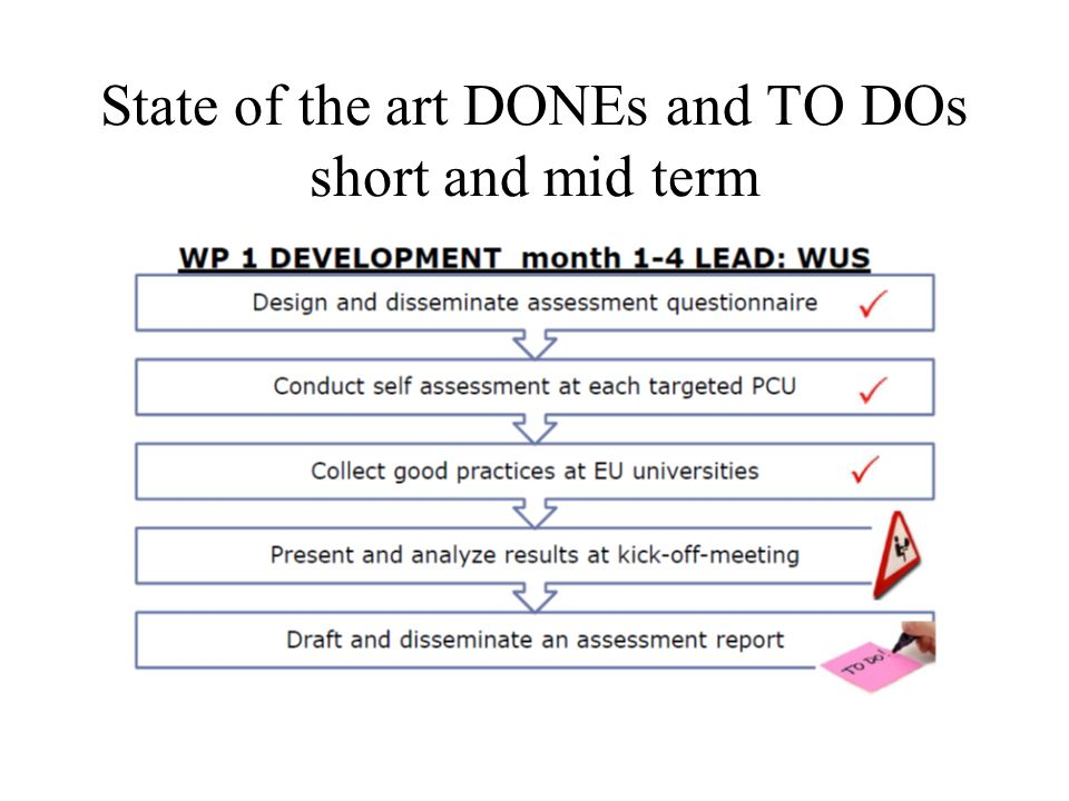 State of the art DONEs and TO DOs short and mid term