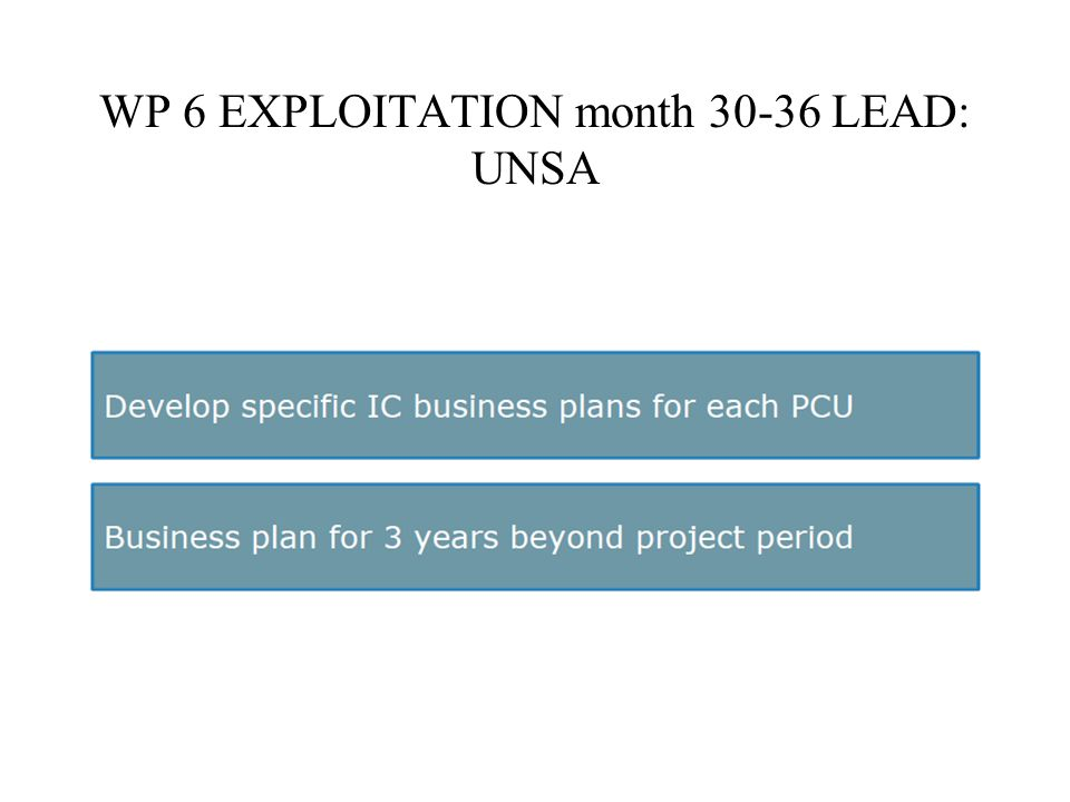 WP 6 EXPLOITATION month LEAD: UNSA