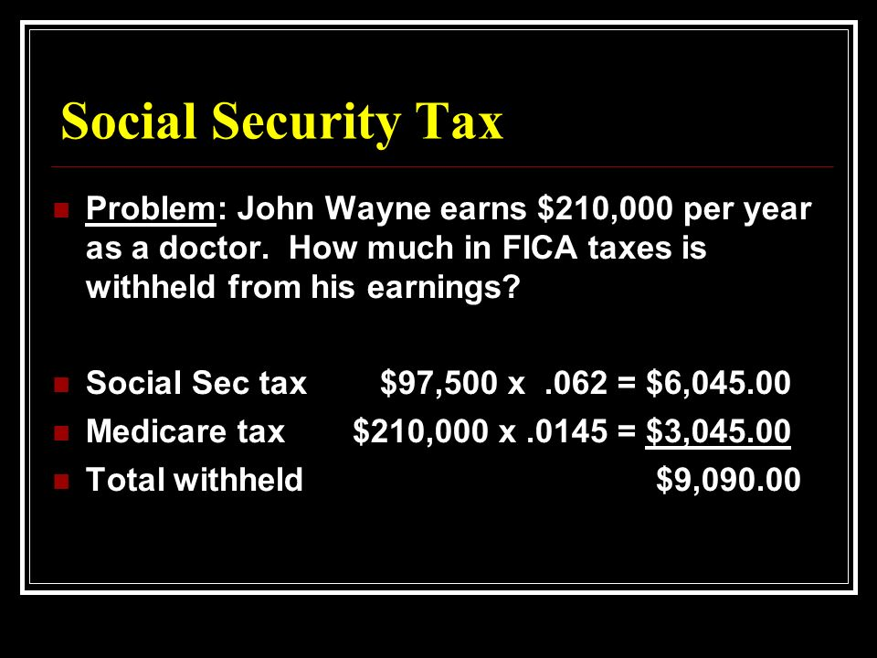 Social Security Tax Problem: John Wayne earns $210,000 per year as a doctor.