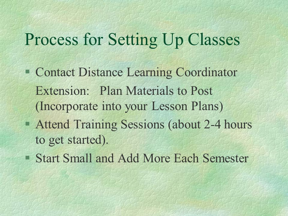 Process for Setting Up Classes §Contact Distance Learning Coordinator Extension: Plan Materials to Post (Incorporate into your Lesson Plans) §Attend Training Sessions (about 2-4 hours to get started).