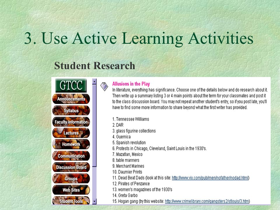 3. Use Active Learning Activities Student Research