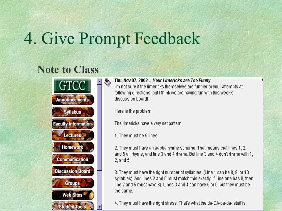 4. Give Prompt Feedback Note to Class