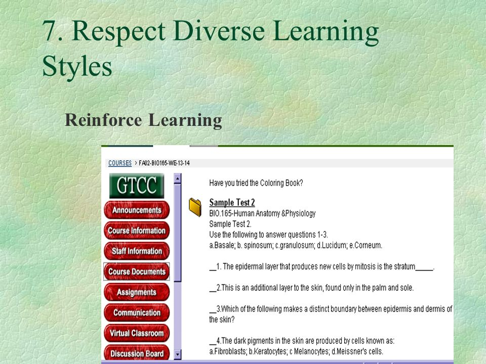 7. Respect Diverse Learning Styles Reinforce Learning