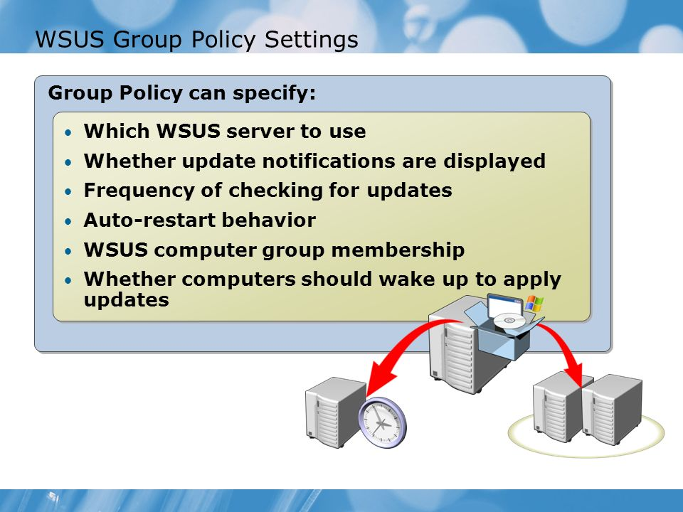WSUS Group Policy Settings Group Policy can specify: Which WSUS server to use Whether update notifications are displayed Frequency of checking for updates Auto-restart behavior WSUS computer group membership Whether computers should wake up to apply updates Which WSUS server to use Whether update notifications are displayed Frequency of checking for updates Auto-restart behavior WSUS computer group membership Whether computers should wake up to apply updates