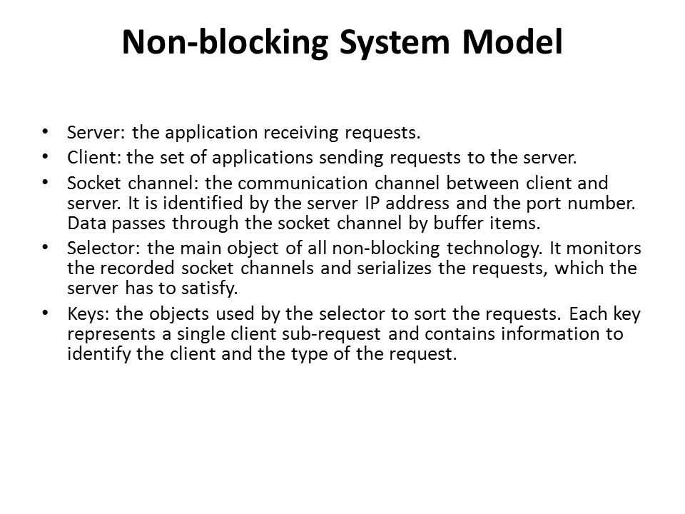 Non-blocking System Model Server: the application receiving requests.