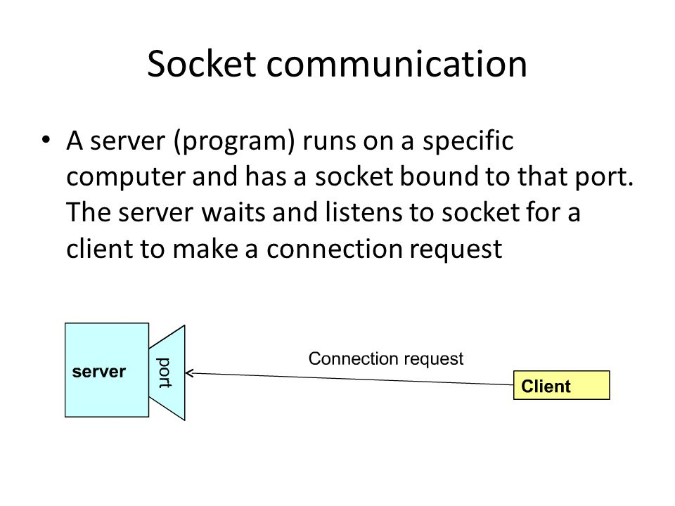 Socket communication A server (program) runs on a specific computer and has a socket bound to that port.