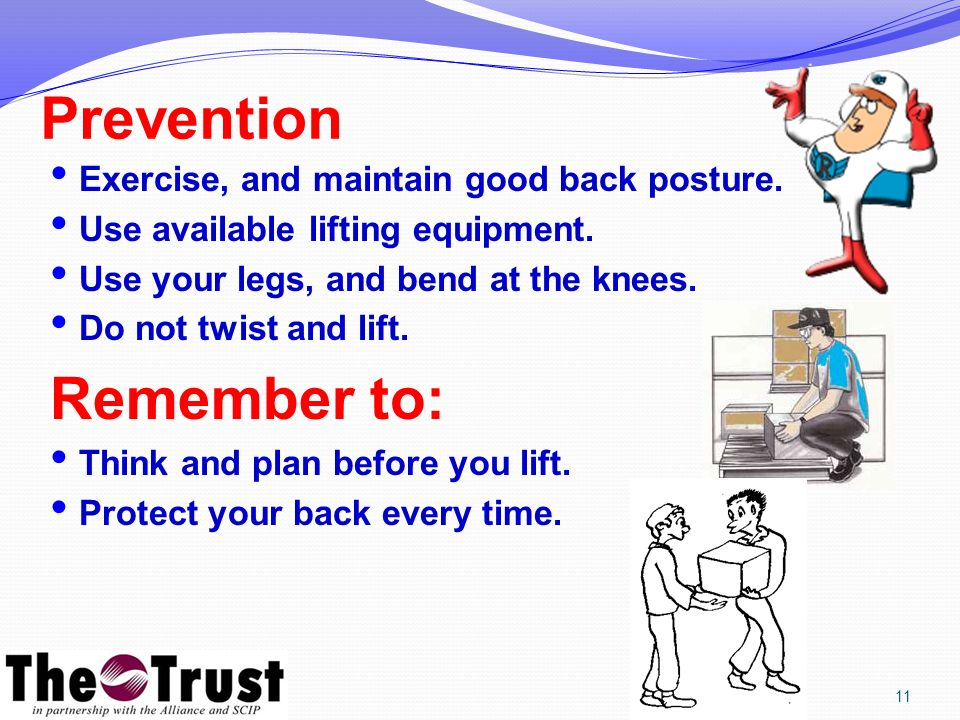 Prevention Exercise, and maintain good back posture.
