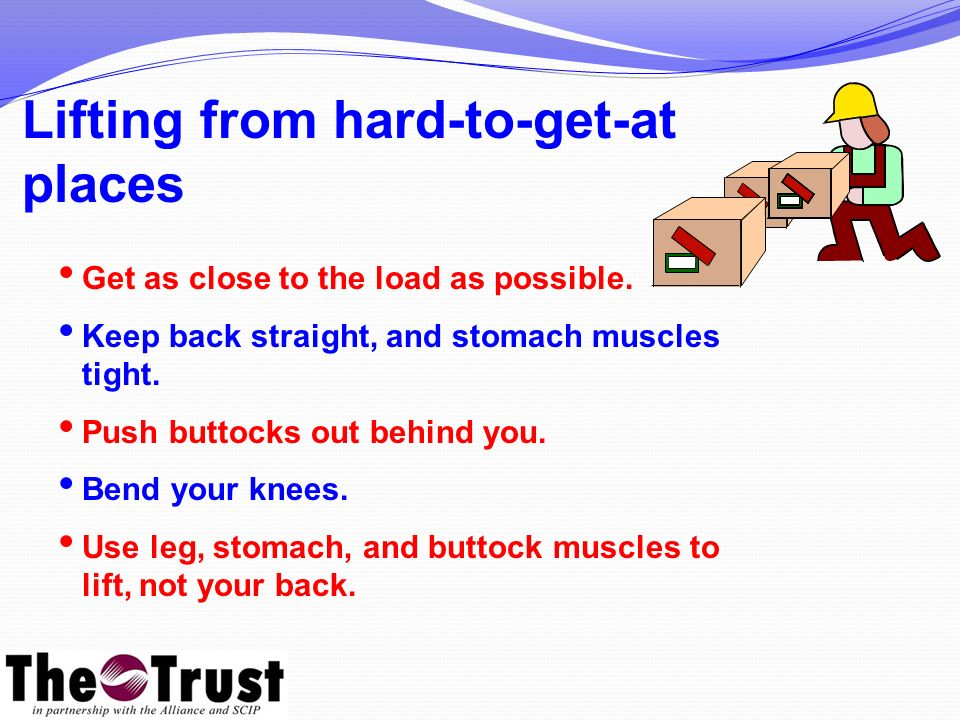 Lifting from hard-to-get-at places Get as close to the load as possible.