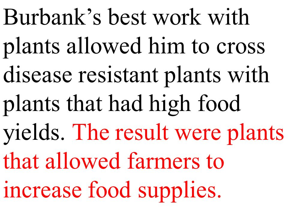 Burbank's best work with plants allowed him to cross disease resistant plants with plants that had high food yields.