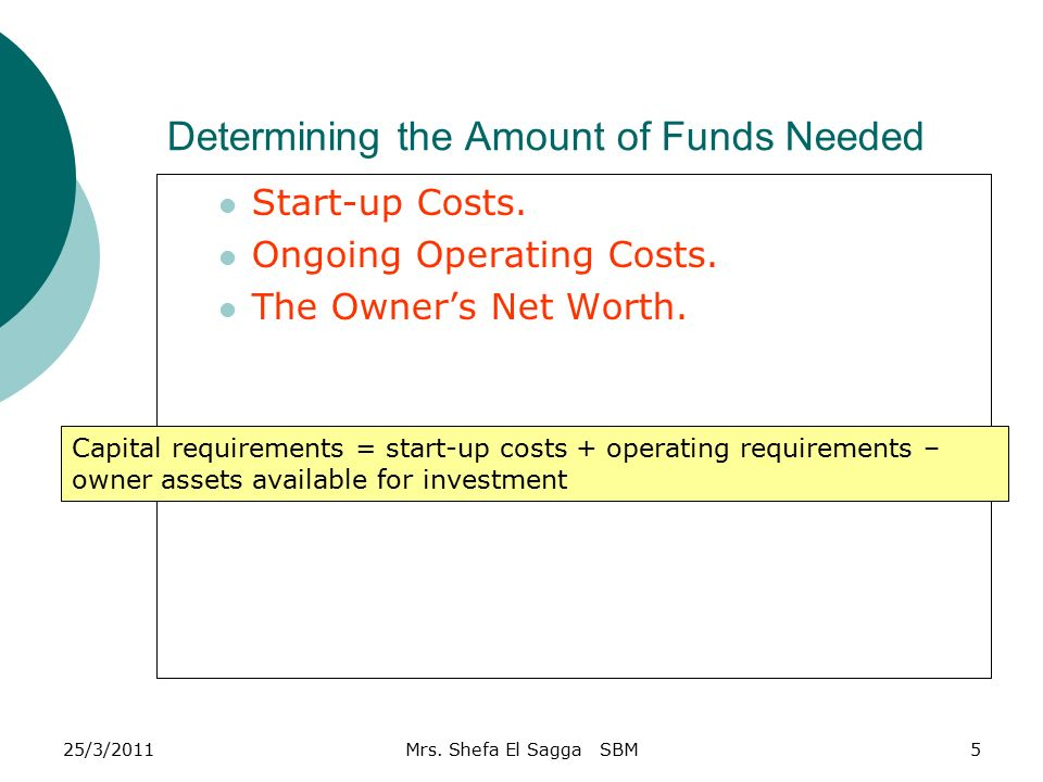 Determining The Amount Of Funds Needed Capital Requirements