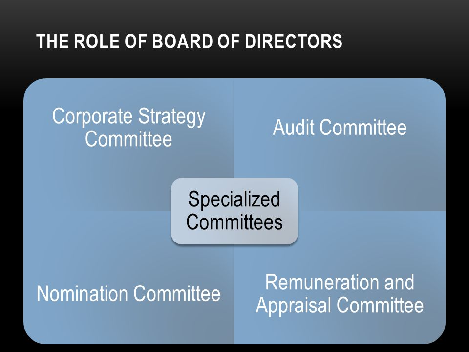 THE ROLE OF BOARD OF DIRECTORS Corporate Strategy Committee Audit Committee Nomination Committee Remuneration and Appraisal Committee Specialized Committees