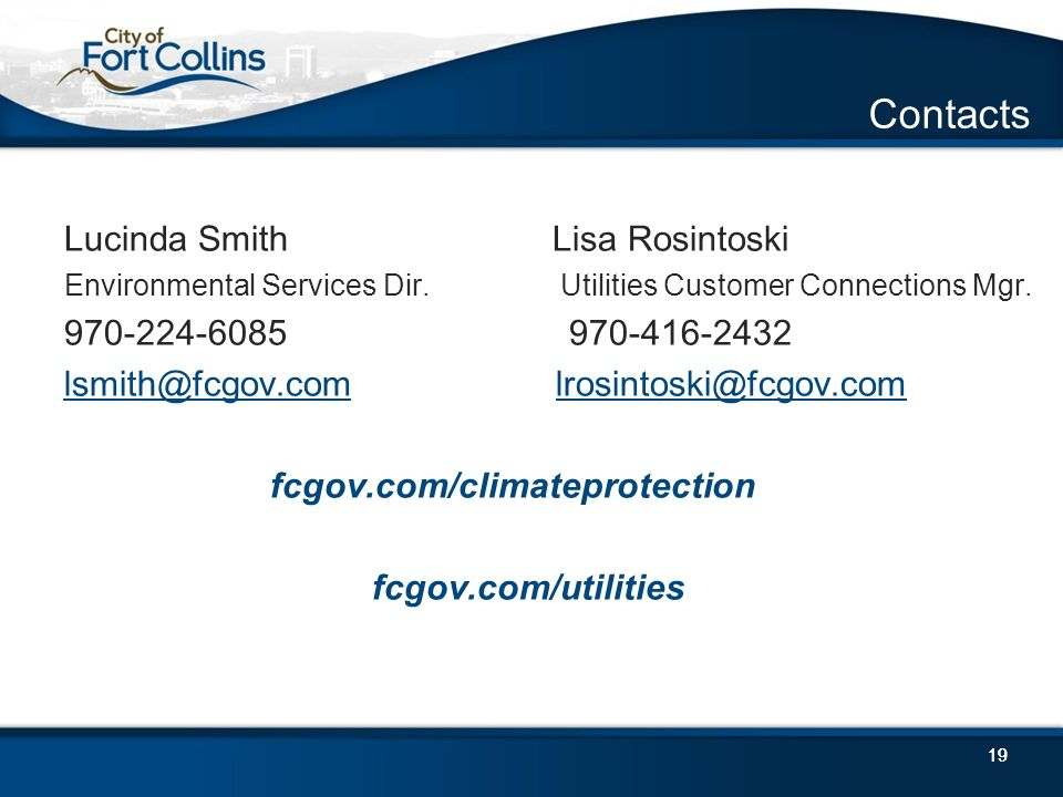 19 Contacts Lucinda Smith Lisa Rosintoski Environmental Services Dir.