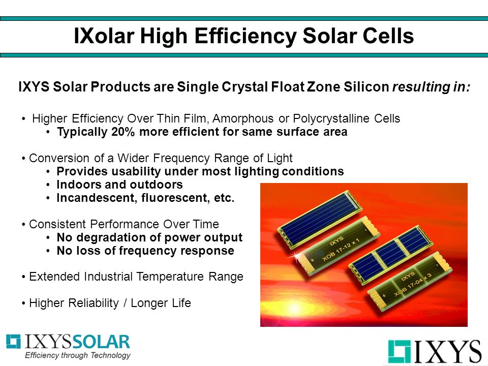 IXYS Solar Products are Single Crystal Float Zone Silicon resulting in: IXolar High Efficiency Solar Cells Higher Efficiency Over Thin Film, Amorphous or Polycrystalline Cells Typically 20% more efficient for same surface area Conversion of a Wider Frequency Range of Light Provides usability under most lighting conditions Indoors and outdoors Incandescent, fluorescent, etc.