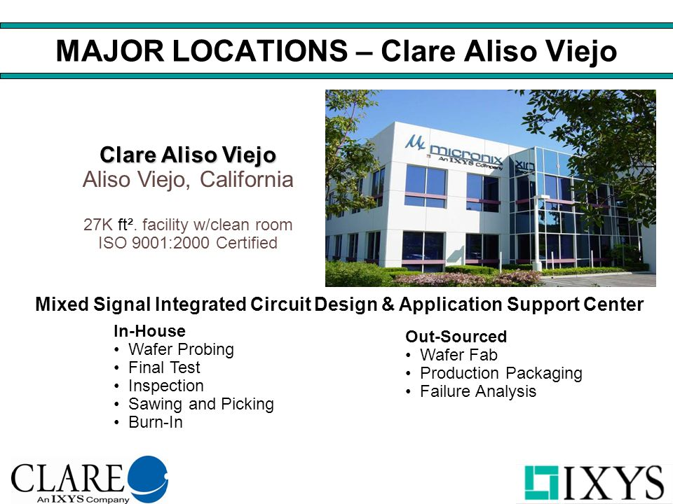 MAJOR LOCATIONS – Clare Aliso Viejo Mixed Signal Integrated Circuit Design & Application Support Center Clare Aliso Viejo Clare Aliso Viejo Aliso Viejo, California 27K ft².