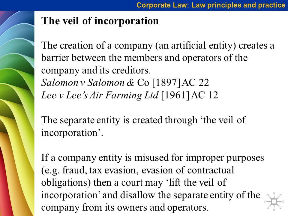 veil of incorporation