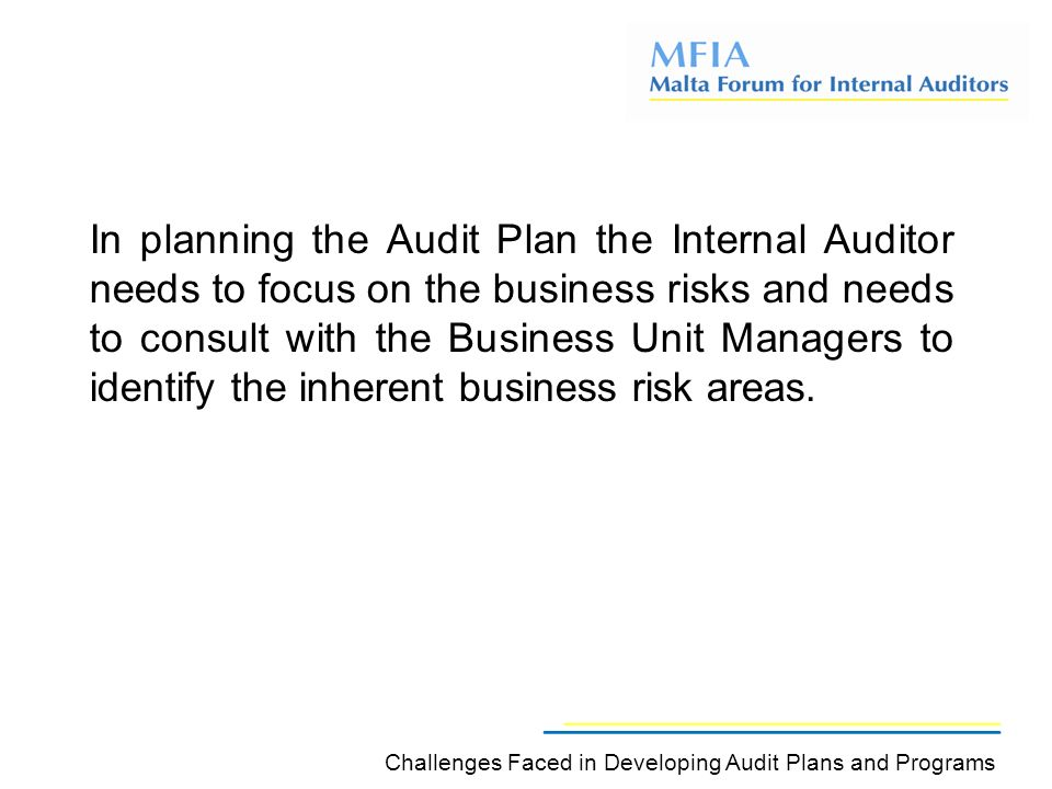 In planning the Audit Plan the Internal Auditor needs to focus on the business risks and needs to consult with the Business Unit Managers to identify the inherent business risk areas.