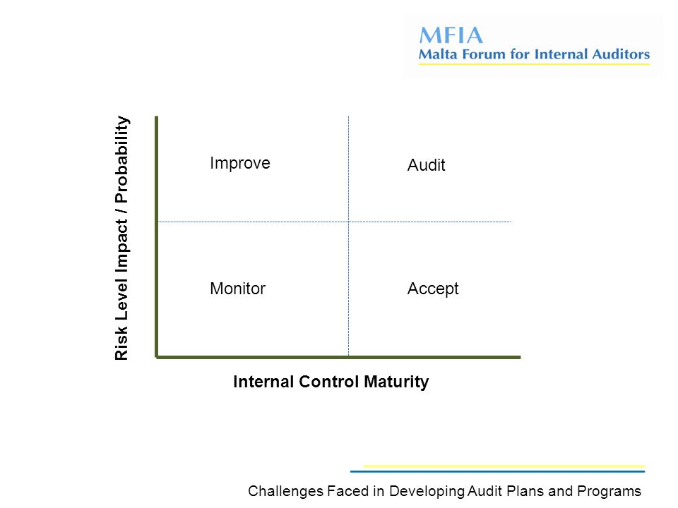 Improve Audit AcceptMonitor Internal Control MaturityRisk Level Impact / Probability