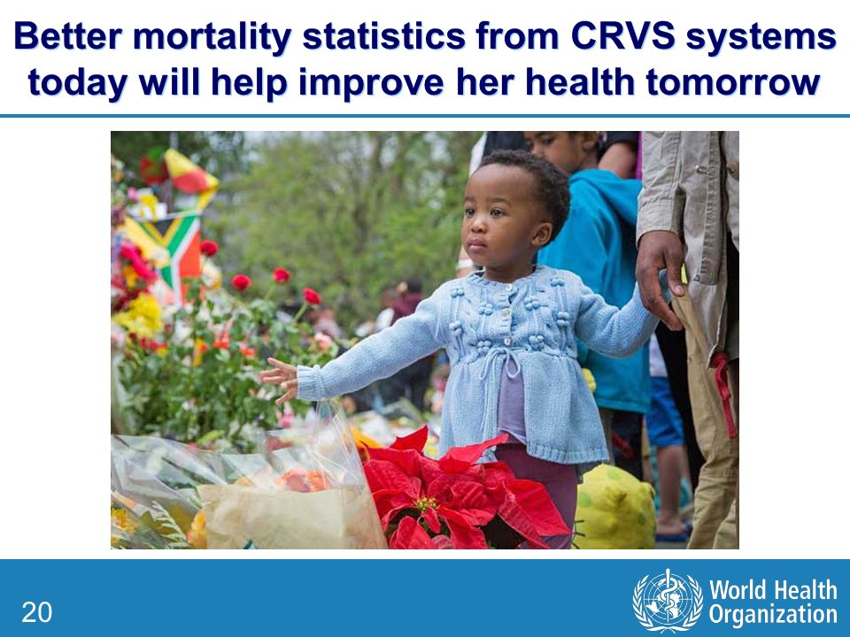 20 Better mortality statistics from CRVS systems today will help improve her health tomorrow