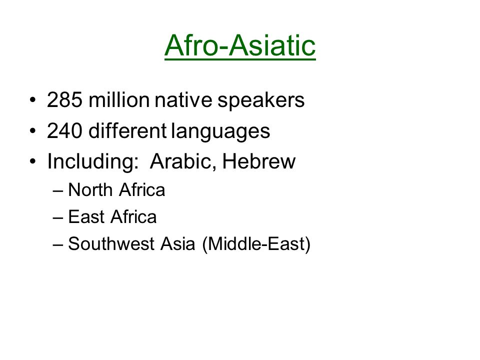 Afro-Asiatic 285 million native speakers 240 different languages Including: Arabic, Hebrew –North Africa –East Africa –Southwest Asia (Middle-East)
