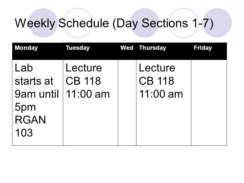 Weekly Schedule (Day Sections 1-7) MondayTuesdayWedThursdayFriday Lab starts at 9am until 5pm RGAN 103 Lecture CB :00 am Lecture CB :00 am