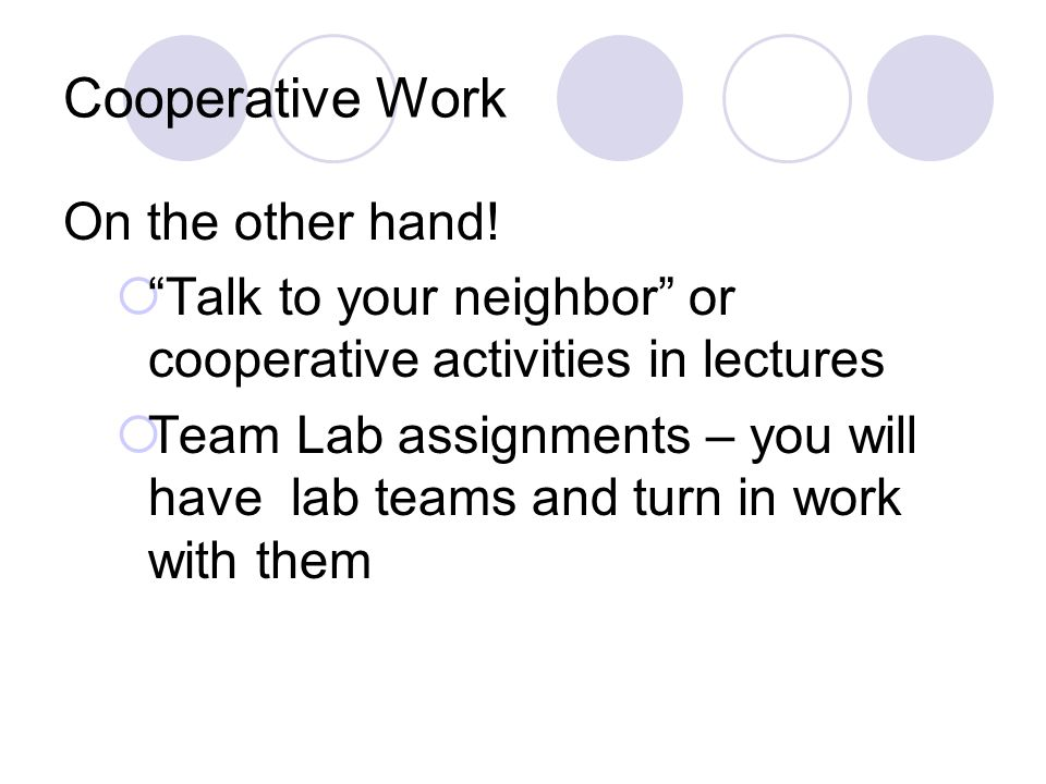 Cooperative Work On the other hand.
