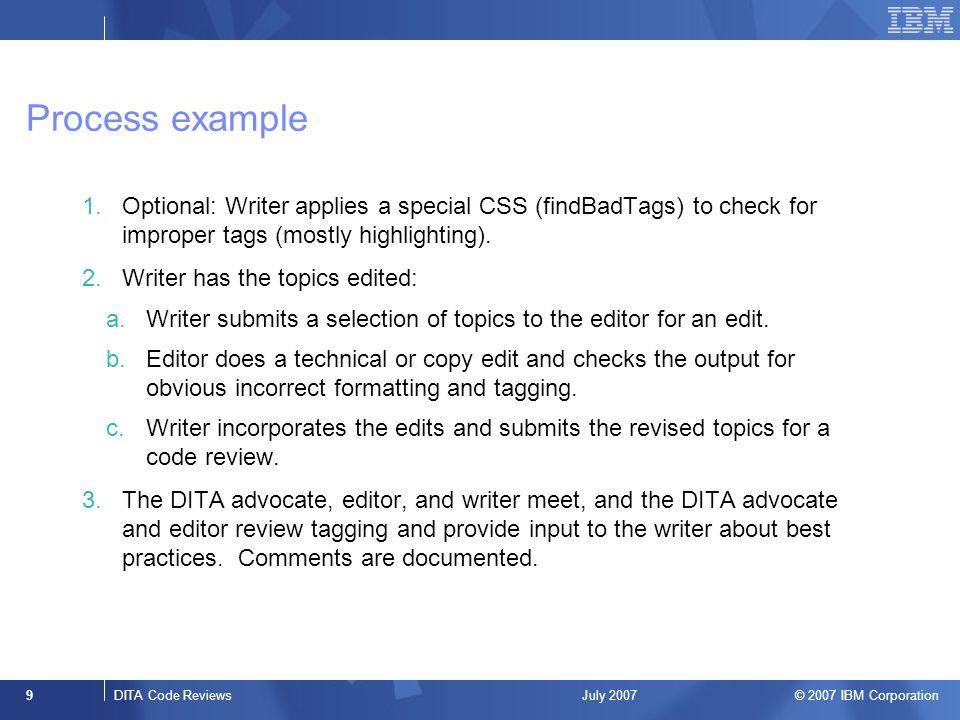 2007 IBM Corporation DITA code reviews Presenters: Megan