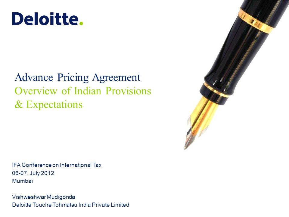 Advance Pricing Agreement Overview Of Indian Provisions