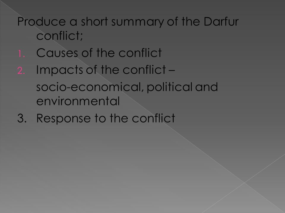 Produce a short summary of the Darfur conflict; 1.