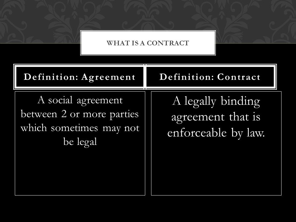 A social agreement between 2 or more parties which sometimes may not be legal A legally binding agreement that is enforceable by law.