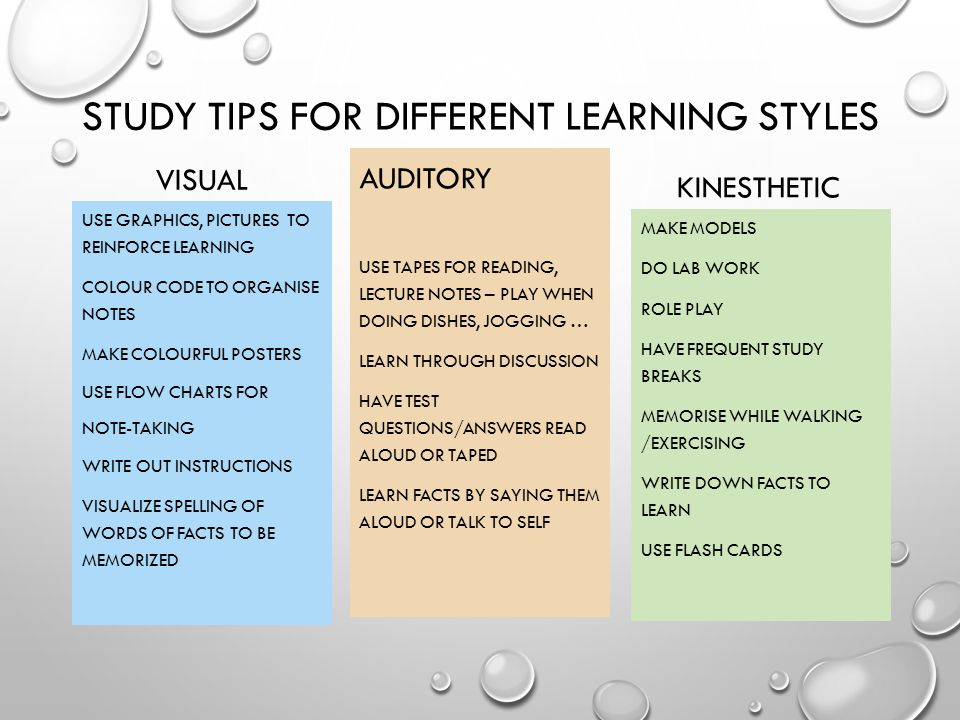 study techniques for different learning styles