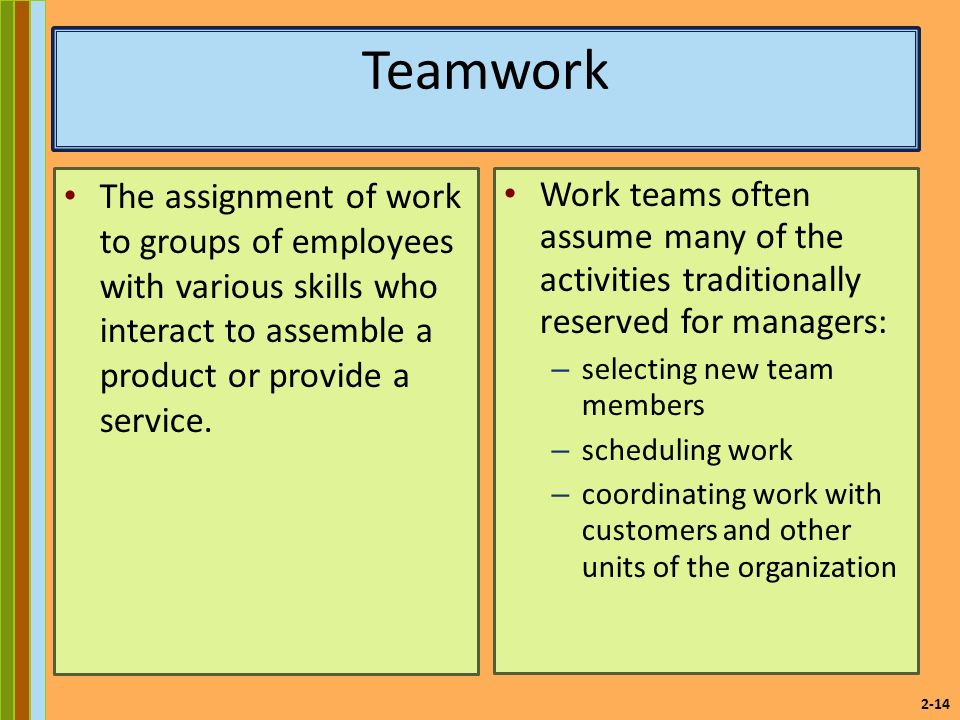 2-14 Teamwork The assignment of work to groups of employees with various skills who interact to assemble a product or provide a service.