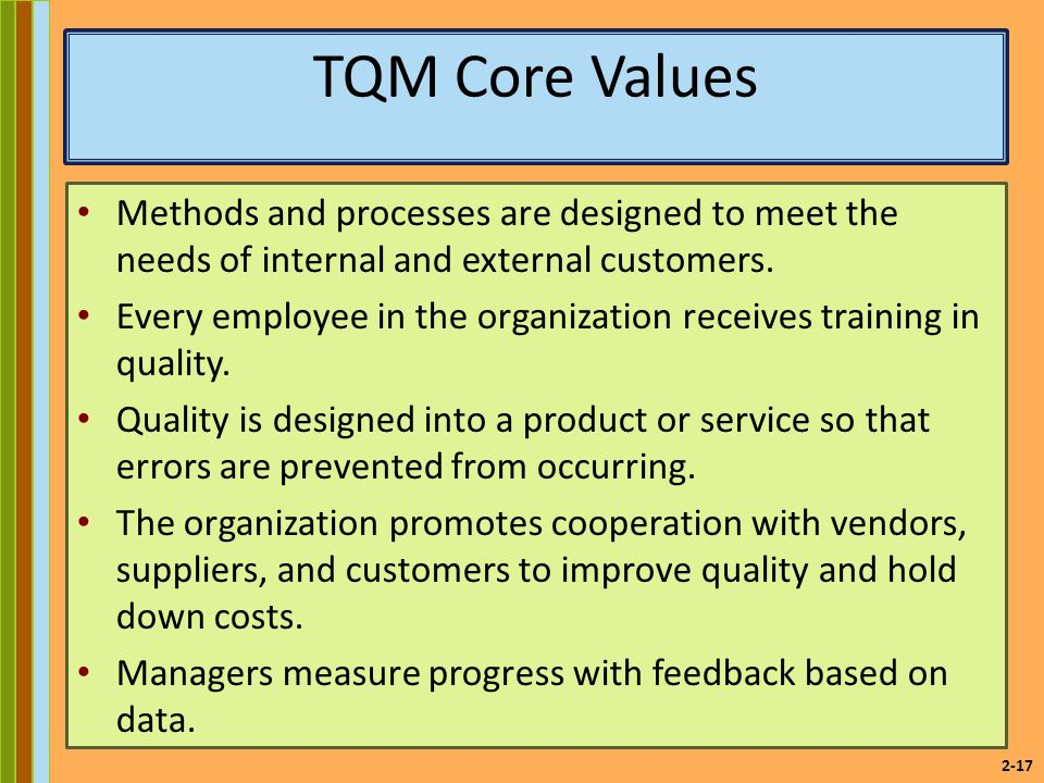 2-17 TQM Core Values Methods and processes are designed to meet the needs of internal and external customers.
