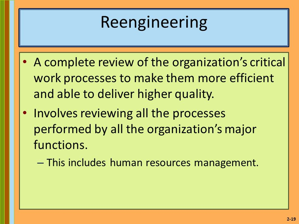 2-19 Reengineering A complete review of the organization's critical work processes to make them more efficient and able to deliver higher quality.