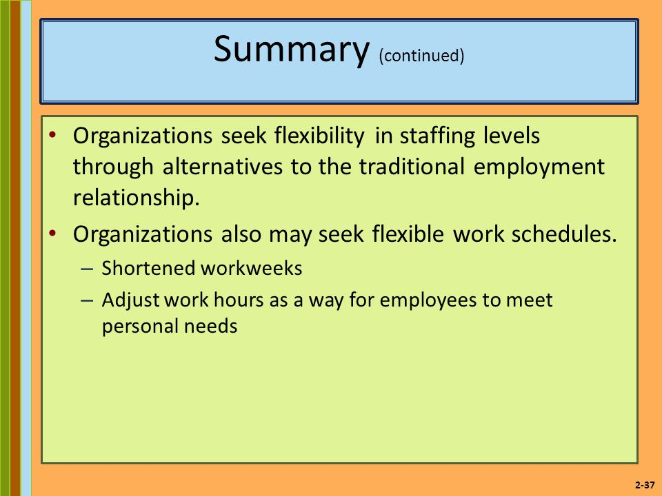2-37 Summary (continued) Organizations seek flexibility in staffing levels through alternatives to the traditional employment relationship.