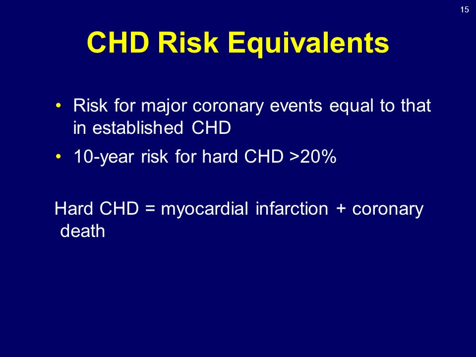 15 CHD Risk Equivalents Risk for major coronary events equal to that in established CHD 10-year risk for hard CHD >20% Hard CHD = myocardial infarction + coronary death