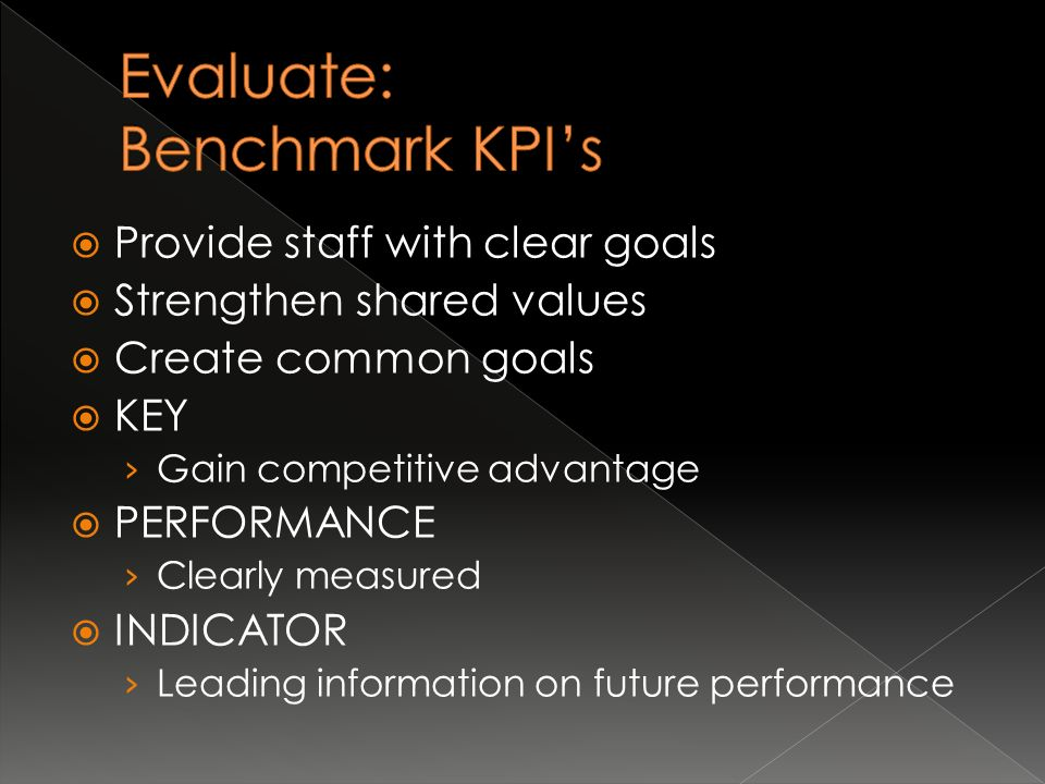 Provide staff with clear goals  Strengthen shared values  Create common goals  KEY › Gain competitive advantage  PERFORMANCE › Clearly measured  INDICATOR › Leading information on future performance