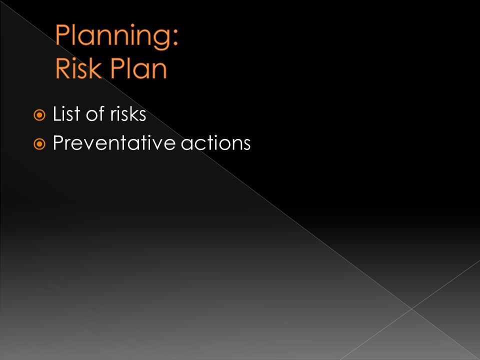  List of risks  Preventative actions