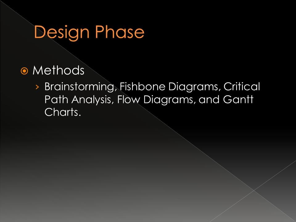  Methods › Brainstorming, Fishbone Diagrams, Critical Path Analysis, Flow Diagrams, and Gantt Charts.
